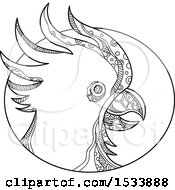 Clipart Of A Cockatoo Parrot Head In Profile In An Oval In Black And White Zentangle Design Royalty Free Vector Illustration