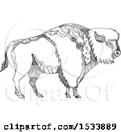 Clipart Of An American Bison Buffalo In Profile In Black And White Zentangle Design Royalty Free Vector Illustration