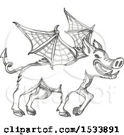 Clipart Of A Winged Boar Pig In Black And White Zentangle Design Royalty Free Vector Illustration
