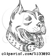 Clipart Of A Panting Pit Bull Dog In Black And White Zentangle Design Royalty Free Vector Illustration