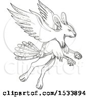 Clipart Of A Skvader Fantasy Creature Flying In Black And White Zentangle Design Royalty Free Vector Illustration