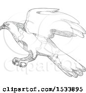 Clipart Of A Swooping Northern Goshawk In Black And White Zentangle Design Royalty Free Vector Illustration