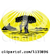 Woodcut Styled Scene Of Adam And Eve By A Snake In An Apple Tree Under Sun Rays
