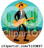 Clipart Of A Mexican Mariachi Playing A Guitar In A Cricle With A Sunset Cactus And Mountains Royalty Free Vector Illustration