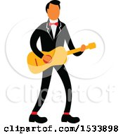 Male Guitarist Wearing A Tuxedo