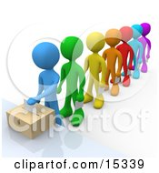 Blue Person Standing At The Front Of A Line Of Diverse Voters, Putting Their Voting Envelope In A Ballot Box During A Presidential Election Clipart Illustration Image by 3poD
