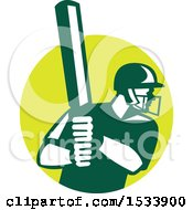 Clipart Of A Retro Cricket Batsman In A Circle Royalty Free Vector Illustration