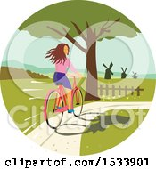 Clipart Of A Girl Looking Back While Riding A Bike On A Path Royalty Free Vector Illustration
