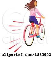 Clipart Of A Girl Looking Back While Riding A Bicycle Royalty Free Vector Illustration