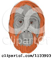 Poster, Art Print Of Sketched Unflanged Male Orangutan Face