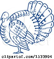 Clipart Of A Paper Cut Styled Turkey Bird Royalty Free Vector Illustration