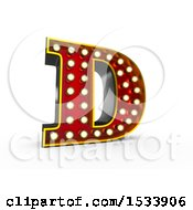 Clipart Of A 3d Illuminated Theater Styled Vintage Letter D On A White Background Royalty Free Illustration