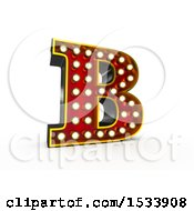 3d Illuminated Theater Styled Vintage Letter B On A White Background