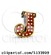 3d Illuminated Theater Styled Vintage Letter J On A White Background