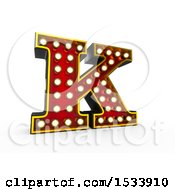 Clipart Of A 3d Illuminated Theater Styled Vintage Letter K On A White Background Royalty Free Illustration