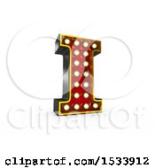 Clipart Of A 3d Illuminated Theater Styled Vintage Letter I On A White Background Royalty Free Illustration