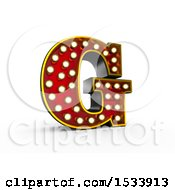 3d Illuminated Theater Styled Vintage Letter G On A White Background