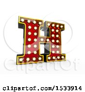 3d Illuminated Theater Styled Vintage Letter H On A White Background