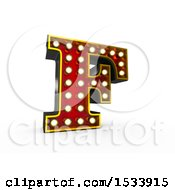 3d Illuminated Theater Styled Vintage Letter F On A White Background