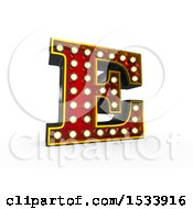 3d Illuminated Theater Styled Vintage Letter E On A White Background