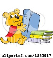 Clipart Of A Panther Cub Mascot With Library Books Royalty Free Vector Illustration