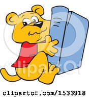 Clipart Of A Panther Cub Mascot Hugging A Book Royalty Free Vector Illustration