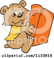 Clipart Of A Cute Bear Cub Hugging A Book Royalty Free Vector Illustration