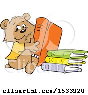 Clipart Of A Cute Bear Cub With Library Books Royalty Free Vector Illustration by Johnny Sajem