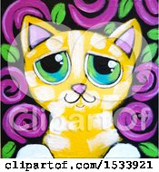 Painting Of A Yellow Tabby Kitty Cat With Purple Flowers