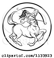 Clipart Of A Zodiac Horoscope Astrology Centaur Sagittarius Circle Design In Black And White Royalty Free Vector Illustration