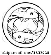 Poster, Art Print Of Zodiac Horoscope Astrology Pisces Fish Circle Design In Black And White