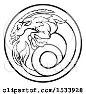 Clipart Of A Black And White Zodiac Horoscope Astrology Capricorn Circle Design Royalty Free Vector Illustration