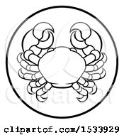Black And White Zodiac Horoscope Astrology Cancer Crab Circle Design