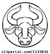 Zodiac Horoscope Astrology Taurus Bull Circle Design In Black And White