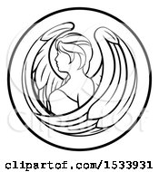 Clipart Of A Zodiac Horoscope Astrology Virgo Circle Design In Black And White Royalty Free Vector Illustration
