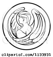 Poster, Art Print Of Zodiac Horoscope Astrology Virgo Circle Design In Black And White