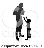 Clipart Of A Silhouetted Father Playing Basketball With His Son With A Shadow On A White Background Royalty Free Vector Illustration by AtStockIllustration