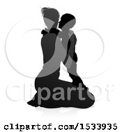 Clipart Of A Silhouetted Mother Kneeling And Hugging Her Son With A Shadow On A White Background Royalty Free Vector Illustration