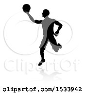 Poster, Art Print Of Silhouetted Basketball Player With A Reflection Or Shadow On A White Background