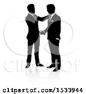Poster, Art Print Of Silhouetted Business Men Shaking Hands With A Shadow On A White Background