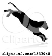 Clipart Of A Silhouetted Lioness Pouncing With A Shadow On A White Background Royalty Free Vector Illustration by AtStockIllustration