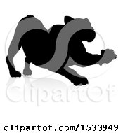 Clipart Of A Silhouetted Lioness Stretching With A Shadow On A White Background Royalty Free Vector Illustration by AtStockIllustration