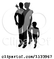 Silhouetted Mother Father And Son With A Shadow On A White Background