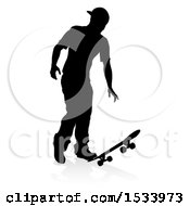 Silhouetted Male Skateboarder With A Reflection Or Shadow On A White Background