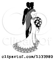 Clipart Of A Black And White Silhouetted Posing Wedding Bride And Groom With A Bouquet Royalty Free Vector Illustration