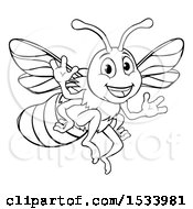 Clipart Of A Black And White Happy Friendly Bee Mascot Waving Royalty Free Vector Illustration