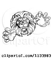 Black And White Charging Male Lion Monster Holding A Football