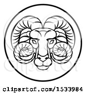 Black And White Zodiac Horoscope Astrology Aries Ram Circle Design