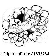 Clipart Of Black And White Monster Claws Playing With A Video Game Controller Royalty Free Vector Illustration