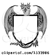Clipart Of A Black And White Dragon Holding A Shield Royalty Free Vector Illustration